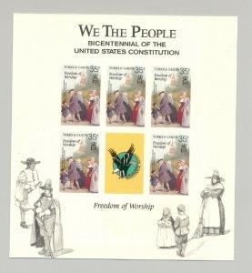 Turks & Caicos 1987 Freedom of Worship M/S of 5 Unissued Imperf Chromalin Essay