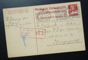 Switzerland 1917 Austria WWI Censored Card to Serbia -  Geneve K und K  A7