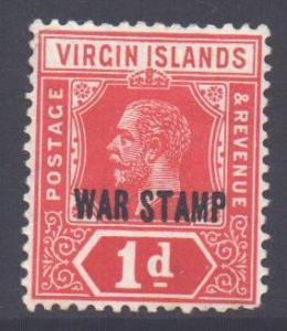 Virgin Islands BVI Scott MR1 - SG78, 1916 War Tax 1d MH*