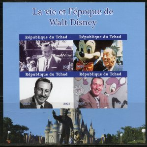 CHAD  2021 THE LIFE & TIMES OF WALT DISNEY SET OF TWO  IMPERF SHEETS  MINT NH
