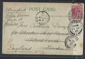 INDIA    (PP0711B) 1908 KE 1A ON COLORED PPC SIMLA RAILWAY TO ENGLAND