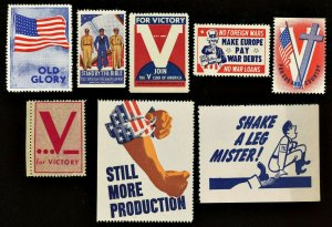 WWII 1940s US Home Front Poster Stamps  * * LOT OF 8 * *