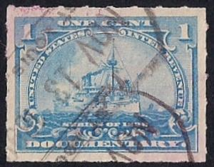 R163 1 cent Documentary Stamp used EGRADED SUPERB 100 XXF