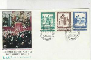 Vatican 1965 Cannonization Picture Ugandan Martyrs Stamps FDC Cover Ref 29522