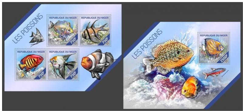 NIGER 2014 2 SHEETS nig14221ab POISSONS FISHES MARINE LIFE