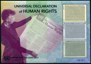 HERRICKSTAMP NEW ISSUES UNITED NATIONS Human Rights S/S with Foil