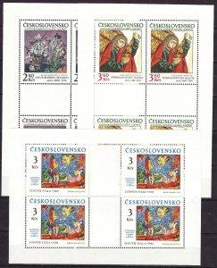 Czechoslovakia 1978 MNH Stamps Mini Sheets Scott 2209-2211 Paintings Flowers