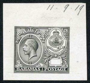 Bahamas 1920 Peace Master Die Proof in grey-black on thin card Ex De La Rue
