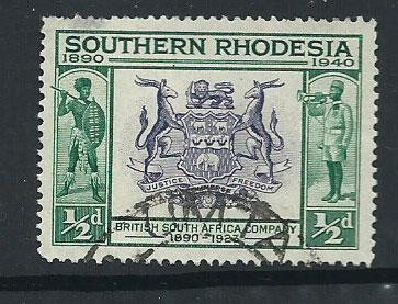 Southern Rhodesia SG 53  spacefiller  tiny thin on reverse