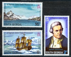 South Georgia Sc# 41-43 MNH 1975 Capt. James Cook