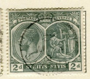 ST.KITTS; 1920s early GV issue fine used Columbus issue 2d. value
