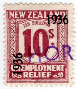 (I.B) New Zealand Revenue : Unemployment Relief 10/- (1936)