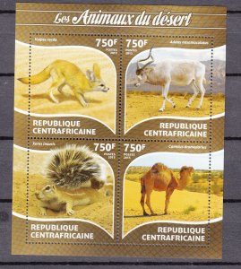 Z2973A  2015 central africa republic s/s mnh animals of the desert #