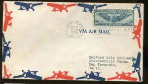 First Day Cover #C24 From New York 1939 to San Fernando CA - Cat Value $50
