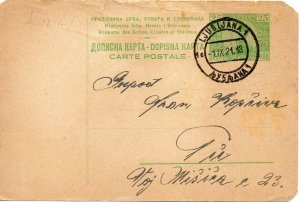 1921 Slovenia pre paid post card dated 1 September 1921