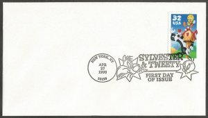 US FDC.1998 SYLVESTER & TWEETY 32C STAMP FIRST DAY OF ISSUE COVER.NEW YORK NY