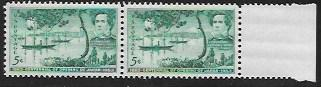 US #1021 MNH Right Edge pair. Opening of Japan
