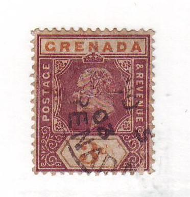 Grenada Sc52 1902 3 d Edward VII stamp used