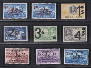 Tonga # 216-221, C55-57, Surcharged Stamps, NH, 1/2 Cat.