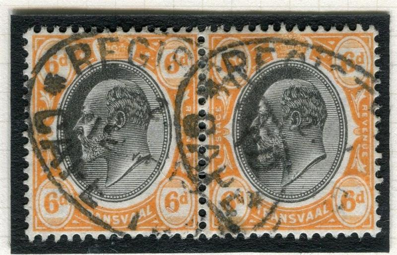 TRANSVAAL Interprovincial Period Ed VII CAPE TOWN Postmark on 6d. pair