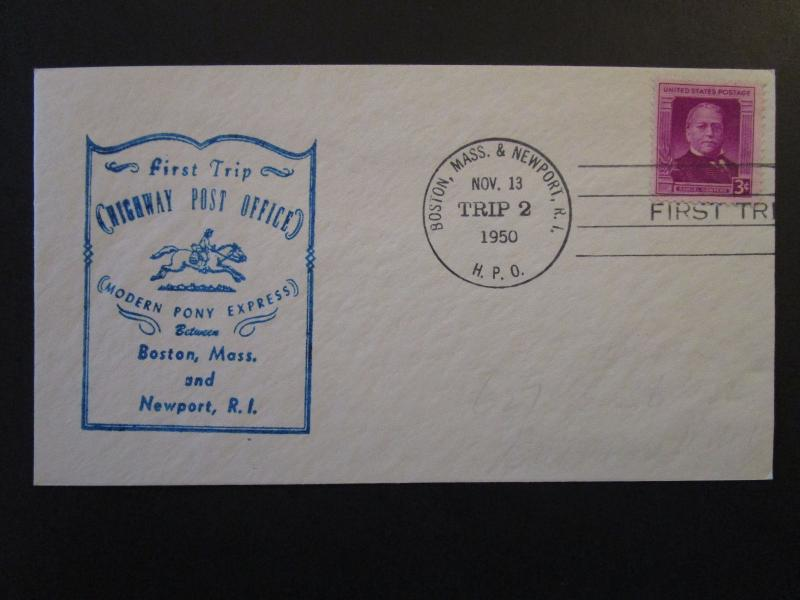 US 1950 Boston to Newport First HPO Cover / Trip 2 / Light Address - Z4422