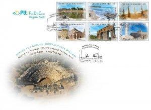 TURKEY / 2020 - (FDC) Patara Themed Definitive Stamps (Tourism, Sea Turtle), MNH