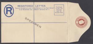 Sierra Leone H&G C5 mint 1938 3p KGVI SPECIMEN Registered Envelope, VF