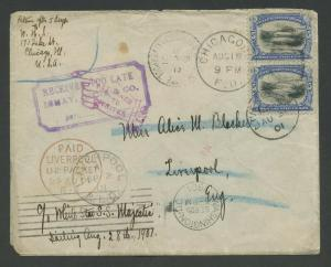 #297 5c PAN-AMERICAN VERT PAIR ON COVER CHICAGO TO ENGLAND AUG 1901 BU8291