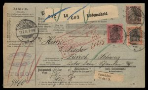 Germany 1900 Reichspost Germania Mi62 61 59 Cover Zurich Switzerland 95961