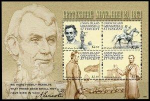 Union Island Gren Vincent Abraham Lincoln Stamps 2011 MNH Gettysburg 1863 4v M/S