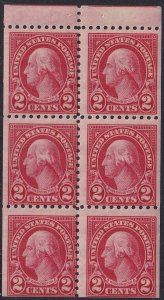 1926 U.S George Washington 2¢ booklet pane MVLH Perf 10 Sc# 583a CV $110.00