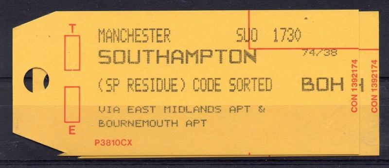 GB = 1994 Bag Label, MANCHESTER to SOUTHAMPTON by EAST MIDLANDS & BOURNEMOUTH