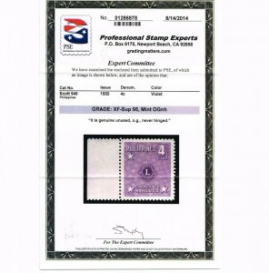GENUINE PHILIPINES SCOTT #546 MINT PRISTINE OG NH PSE CERT GRADED XF-SUPERB 95