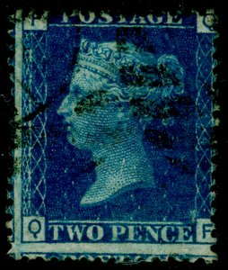 SG47, 2d dp blue plate 14, USED. Cat £38. QF