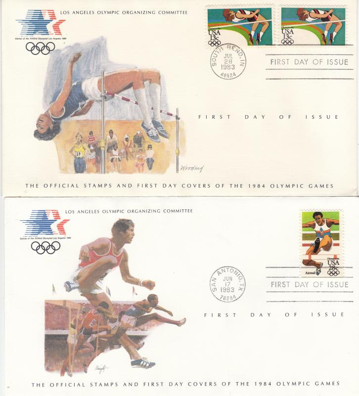 ​  USA - 1984 Olympic games , FDC High jump and run with obstacles (1324)