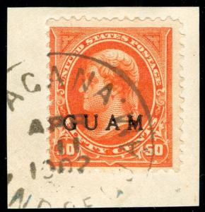 momen: US Stamps #11 GUAM USED ON PIECE