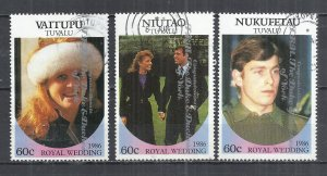 TUVALU 1986- ROYAL WEDDING - 3 DIFFERENT-  USED