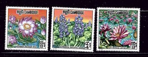 Cambodia 231-33 MNH 1970 Flowers
