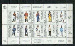 Venezuela 1988 Souvenir Sheet Sc 1417  CV $15 MNH Military Uniforms  5407