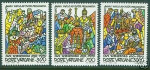 VATICAN Scott 858-60 MNH** St. Willbrord stained glass