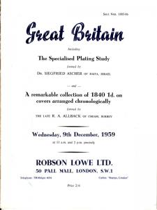 Great Britain, The Specialized Plating Study of Dr. Ascher. Auction catalogue