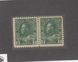 CANADA # 107  VF-MH  2cts  KING GEORGE V ADMIRAL /PAIR / YEL GREEN  CAT VAL $90