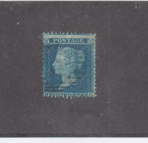 GREAT BRITAIN # 19 FVF-LIGHT USED 2d BLUE CAT VALUE $375