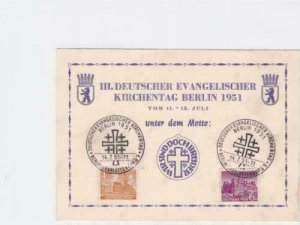 Berlin german protestant church day 1951 stamps card r19825