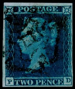 SG15, 2d deep FULL blue, FINE USED. Cat £2500. YORK MX. RPS CERT. 4 MARGINS. PD