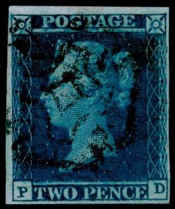 SG15, 2d deep FULL blue, FINE USED. Cat £2500. YORK MX. RPS CERT. 4 MARGINS. PD