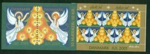 Denmark.  Booklet  2001.  10 Christmas Seals Mnh. Christmas Tree Angels
