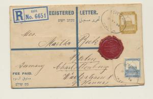 PALESTINE 1934 REGISTERED 13m ENVELOPE (HG#C5) HAIFA-BERLIN+ WAX SEAL, SCARCE