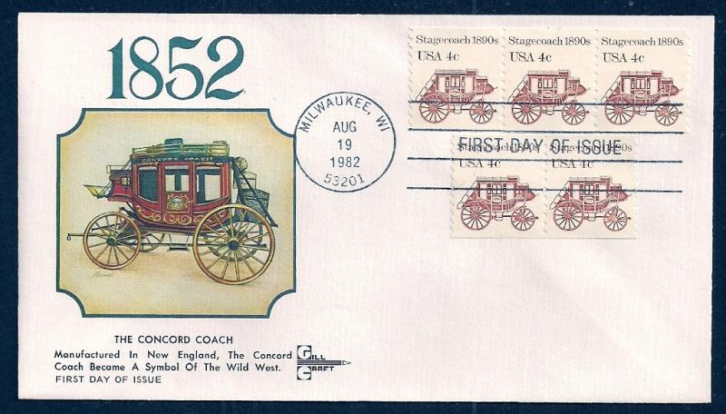 UNITED STATES FDC 4¢ Stagecoach COIL 1982 Gill Craft
