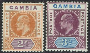 GAMBIA 1904 KEVII 2D AND 3D WMK MULTI CROWN CA